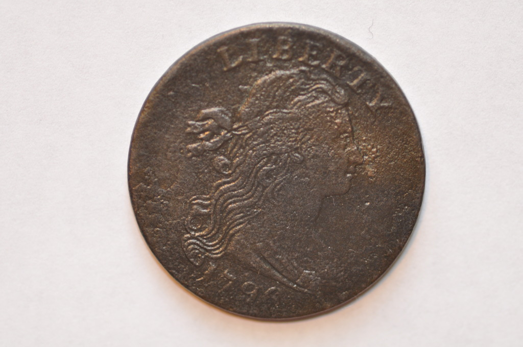 1796 1C LARGE CENT DRAPED BUST. S-106 R4+ RARE VARIETY