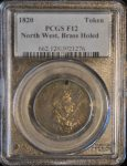 1820 Token North West, Brass Holed F12 PCGS