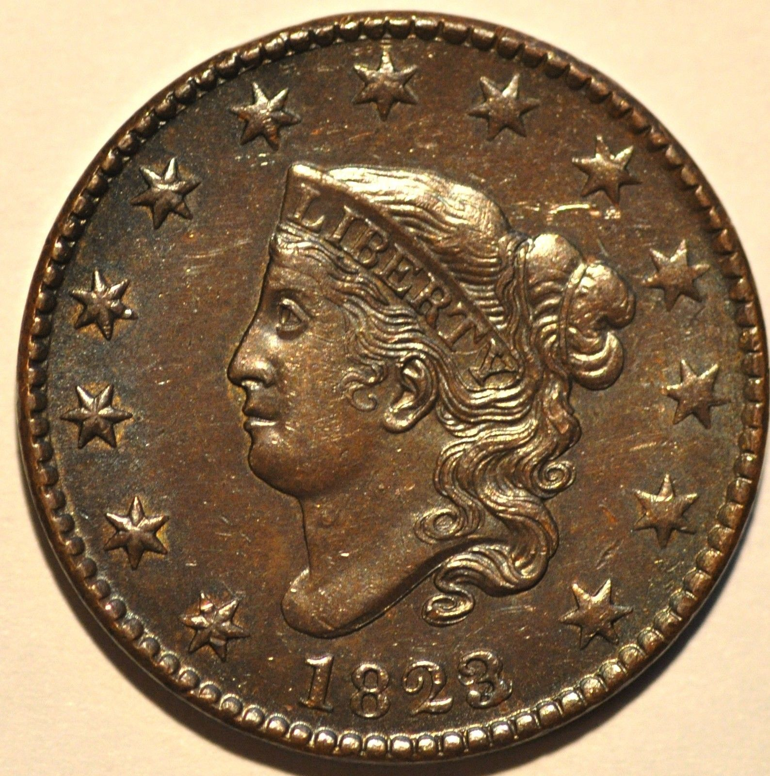 1823/2 1C CORONET HEAD OVER DATE  N-1 R2+  RARE IN GRADE AU