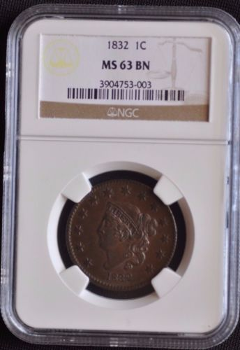 1832 1C CORONET HEAD N-1, R2, NGC GRADED MS63