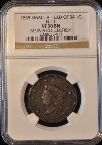 1835 1c LARGE CENT CORONET HEAD .NEWCOMB 11 R4+ MERVIS COLLECTION NGC VF30