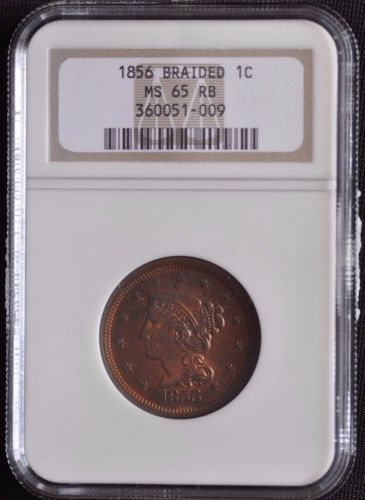 1856 1C BRAIDED HAIR NGC MS65RED-BROWN SUPER NICE LUSTER AND RED