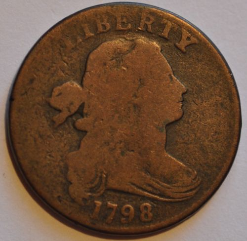 1798 1C LARGE CENT DRAPED BUST S-163 R4+ RARE.
